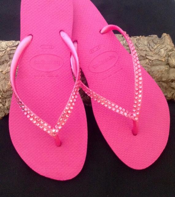 Hot Pink Havaianas Slim Flip Flops Rose Fuchsia Magenta Crystal Custom Wedding w/ Swarovski Rhinestone jewels Bling Beach Bride Sandal Shoes