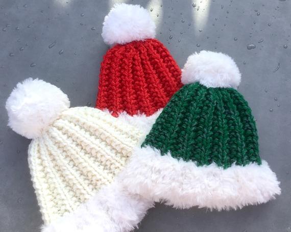 Santa Hat Hand Knit Lux Fur Beanie Winter Toque red white green HUGE Pom Pom Fibre Art Costume Cap Christmas Holiday Women Children Men Gift