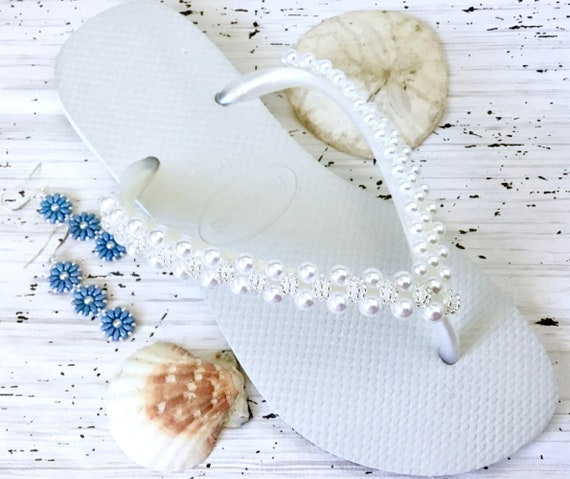 Pearl Flip Flops Turquoise Blue White Ivory Purple Gold Havaianas Slim Starfish Bridal Crystal hand sew Bride BridesMaid Beach Wedding shoes