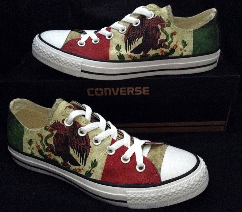 Mexico Flag Custom Converse Low Top Mens Ladies Pride Country  eb7bff1498