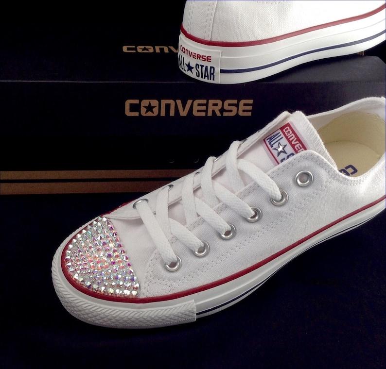 fa6d456b8e0a5 White Wedding Converse Kicks Ladies Mens Custom Canvas Low Top w/ Swarovski  Crystal Bling Rhinestones Chuck Taylor All Star Sneakers Shoes