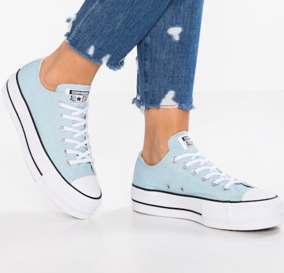 Baby Blue Converse Platform lift heels wedge White Canvas Low Top Club w/ Swarovski Crystal Rhinestone Chuck Taylor All Star Sneakers Shoes