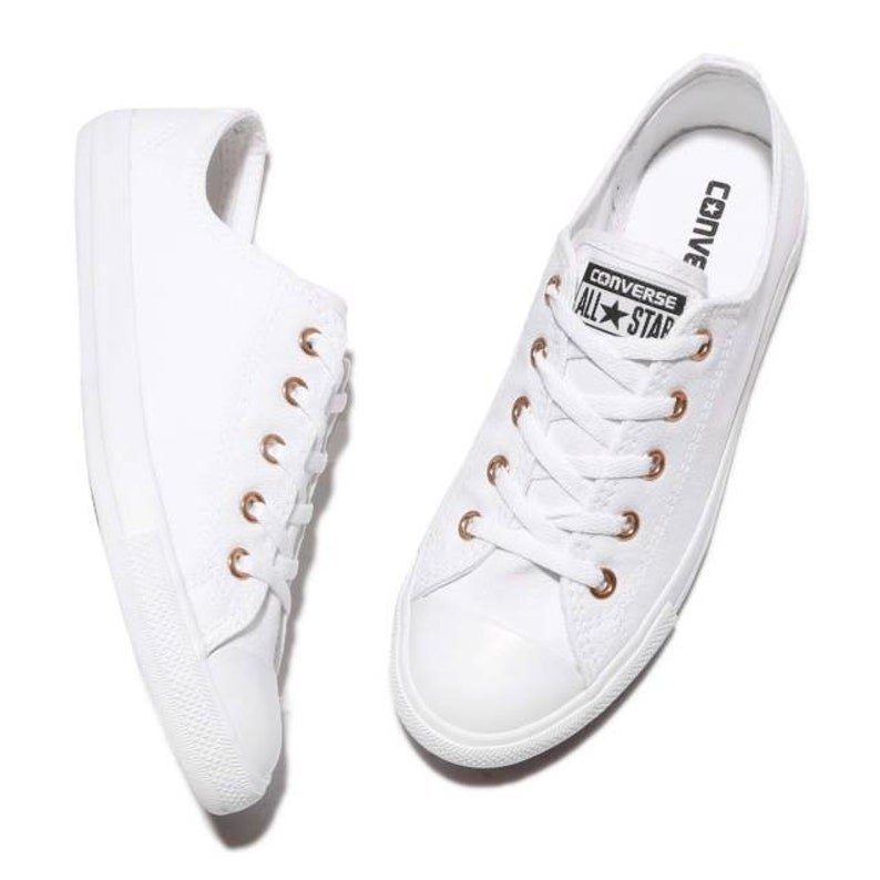 1f4b958c2f06 White Converse Dainty Low Top Gold Mono Canvas Chuck Taylor