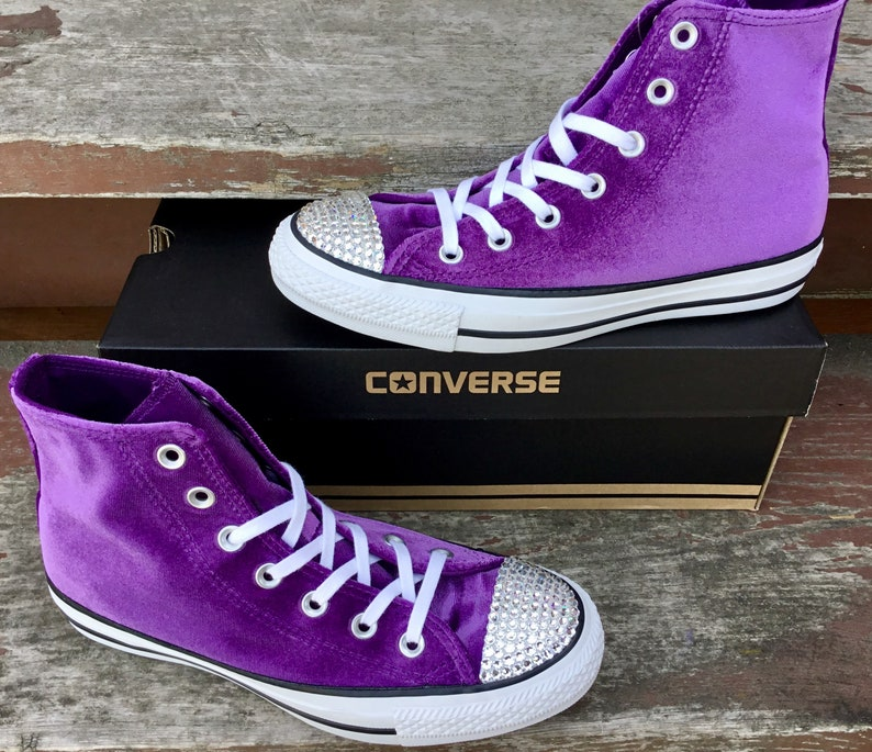 b88161efdc7758 Purple Converse High Top Kicks Eggplant Plush Velvet w