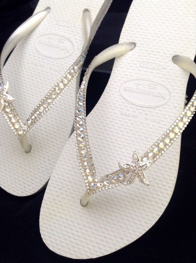 e26e6793788a3 Custom Crystal Havaianas Slim White flip flops Silver starfish ocean sea w/  Swarovski Bling Wedding Dynamite Rhinestone Beach Thong Shoes