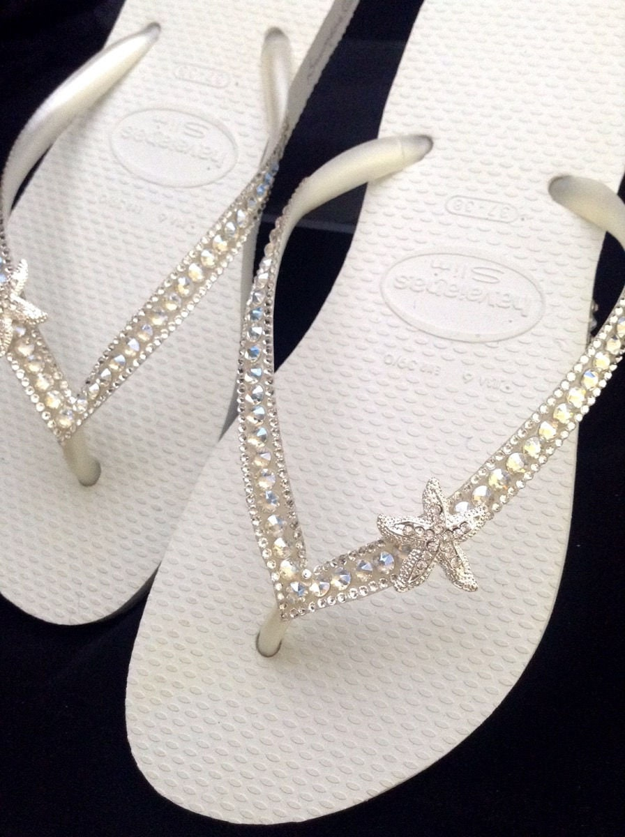 a544ba670923 Custom Crystal Havaianas Slim White flip flops Silver starfish ocean sea w   Swarovski Bling Wedding Dynamite Rhinestone Beach Thong Shoes
