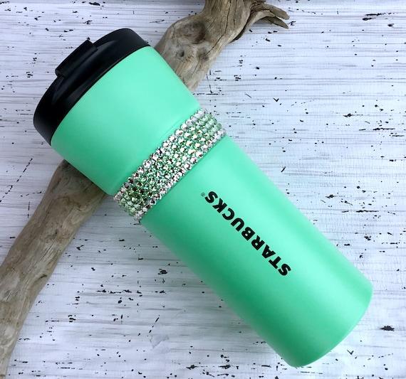 Starbucks Swag Swarovski Mint Green Seafoam Crystal 16 oz Grande Christmas Beverage Stainless Travel Coffee Tea Cup Tumbler Rhinestone  Gift
