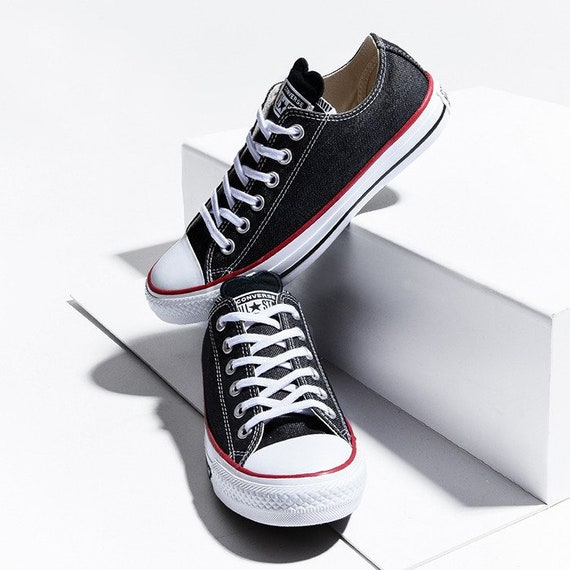 Black Charcoal Converse Love Heart Stonewashed Denim Low Top Custom w/ Swarovski Crystal Chuck Taylor Rhinestone All Star Sneakers Shoes