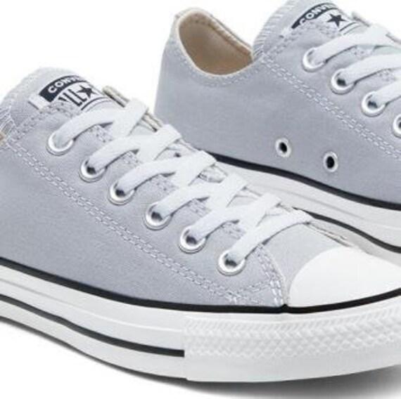 Silver Gray Converse Low Wolf Grey Custom Bling Kicks w/ Swarovski Crystal Rhinestones Chuck Taylor Bride Mens Groom Wedding Sneakers Shoes