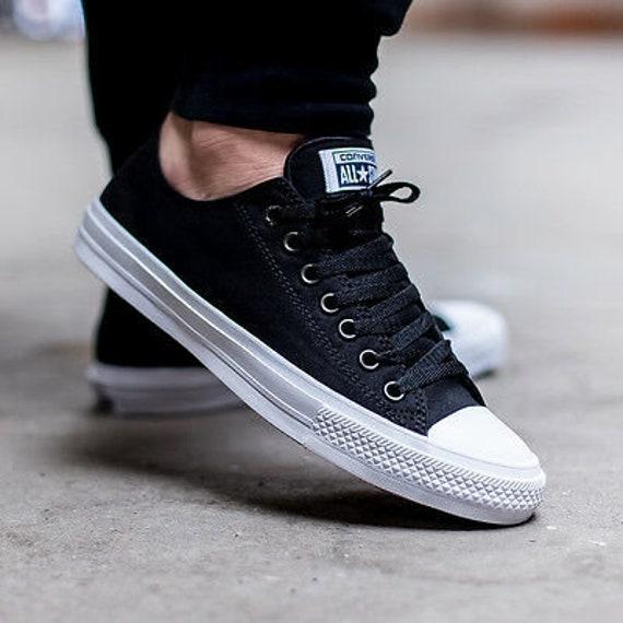 Black Converse Chuck II 2 Low Top Monochrome Canvas Custom Mens Kicks w/ Swarovski Wedding Bling Rhinestone Jewels All Star Sneakers Shoes