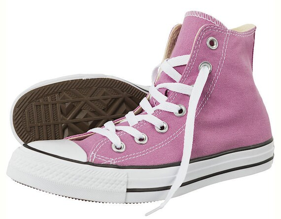 Purple Converse High Top W US 8.5 Orchid w/ Swarovski Crystal Bling Lavender Lilac Chuck Taylor Bride Kicks All Star Wedding Sneakers Shoes