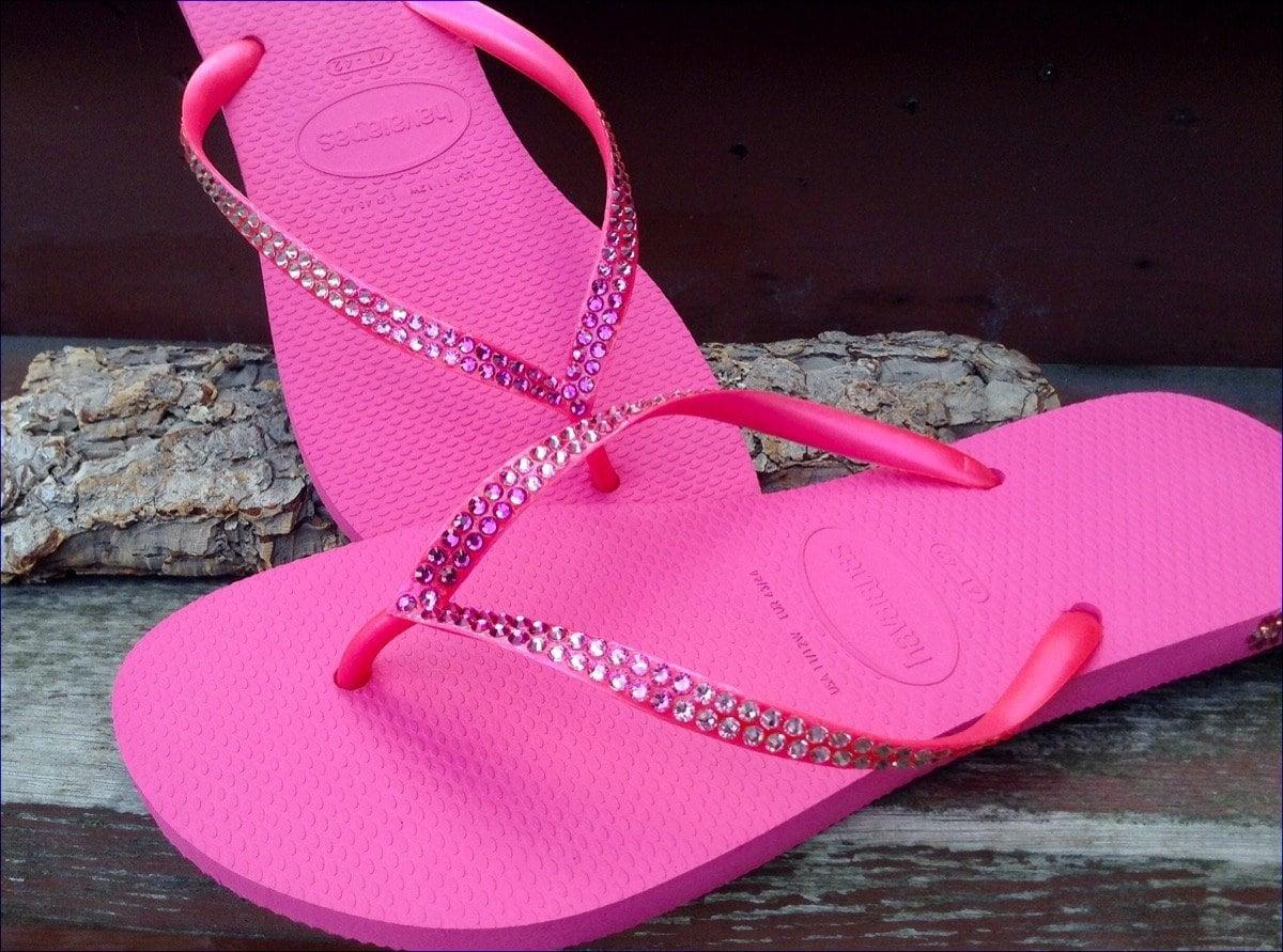 951afdeb46a1d5 Hot Pink Flip Flops Ombré Crystal Havaianas Slim flat Fuchsia