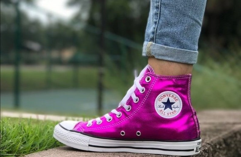 88fb295b6dc4 Pink Converse High Tops Magenta Fuchsia Metallic Wedding Chuck