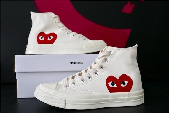 White Converse High Top Red Peek a Boo Heart Ladies Mens w   5f86f1765