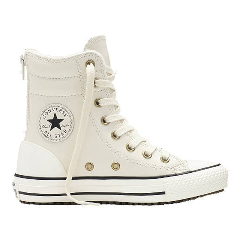 83db2c409f78 White Converse High Top Fur Leather Boot Zipper US W 8 Wedding