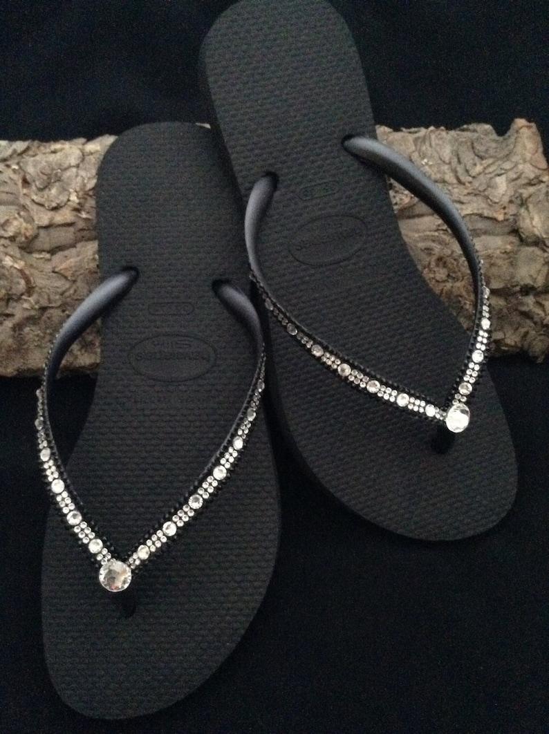 d80a6254bdf64 Havaianas Slim Flip Flops w  Swarovski Bling Crystal Full Moon