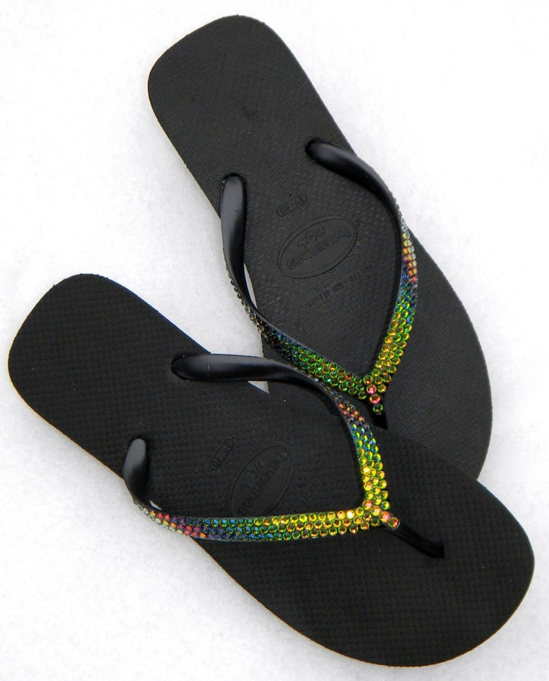 501794fbc57d Rainbow Crystal Havaianas Flip Flops High Heel 2.4 Wedge w