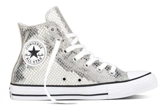 Silver Converse High Top Gray Snake Custom Sequins Glitter Grey w/ Swarovski Crystal Bride Chuck Taylor All Star Bridal Wedding Sneaker Shoe