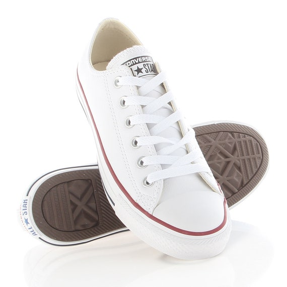 Weiße Converse Low oben Leder Damen Mens Custom Braut Bling w Swarovski Kristall Strass Chuck Taylor All Sterne Hochzeit Sneakers Schuhe