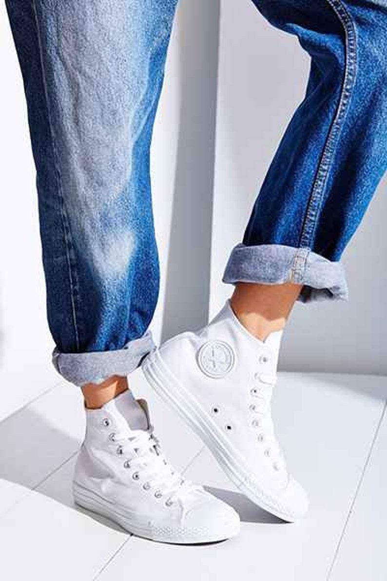 dd80d49c4516 White Converse Leather High Top Mono Custom Kicks w  Swarovski