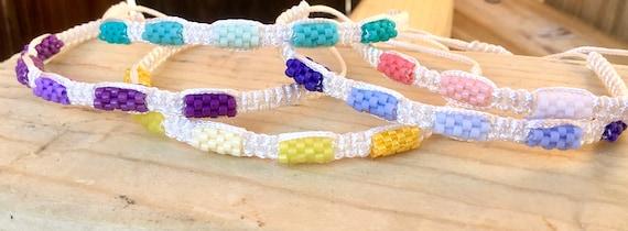 White Wrap Bracelet Adjustable Macrame Knot Beaded Summer Boho Rainbow Ombre Braid Bride Wedding Friendship gift Mens Beach Surf Girl Bangle