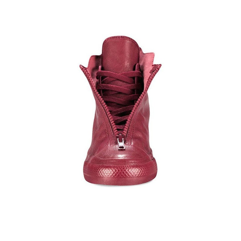 Burgundy Pink Red Converse Leather High Rise Lux Hidden Wedge Heel Shroud  Zipper w  Swarovski Crystal Chuck Taylor All Star Sneakers Shoes 24f4e8911e2c