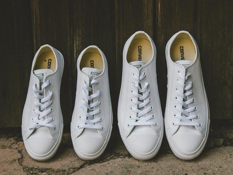 fd353275e03d White Leather Converse Low Top Mono Bride Groom w  Swarovski