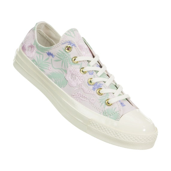 Floral Converse 70s Low Top White Ivory Embroidery Palm Canvas w/ Swarovski Crystal Rhinestone Chuck Taylor All Star Wedding Sneakers Shoes