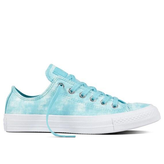Aqua Baby Blue Turquoise Wedding Converse Bride Marble Wash soft Canvas w/ Swarovski Crystal Rhinestone Chuck Taylor All Star Sneakers Shoes