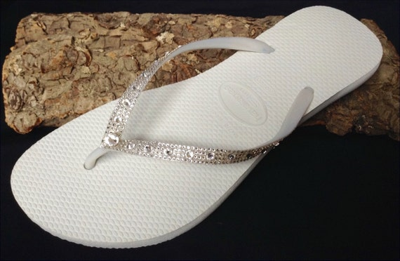 White Wedding flip flops flat Slip on Havaianas Slim Full Moon w/ Swarovski Crystal Rhinestone Bridal Bling Wedding Reception Thong Shoes