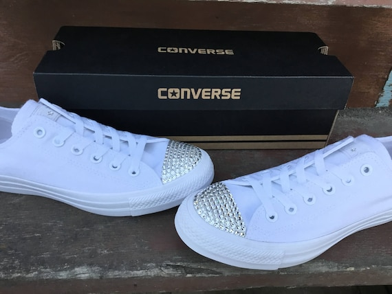 927ee26f129 White Leather Converse Low Top Mono Bride Groom w  Swarovski Crystal Chuck  Taylor Custom Rhinestone Bling All Star Wedding Sneakers Shoes