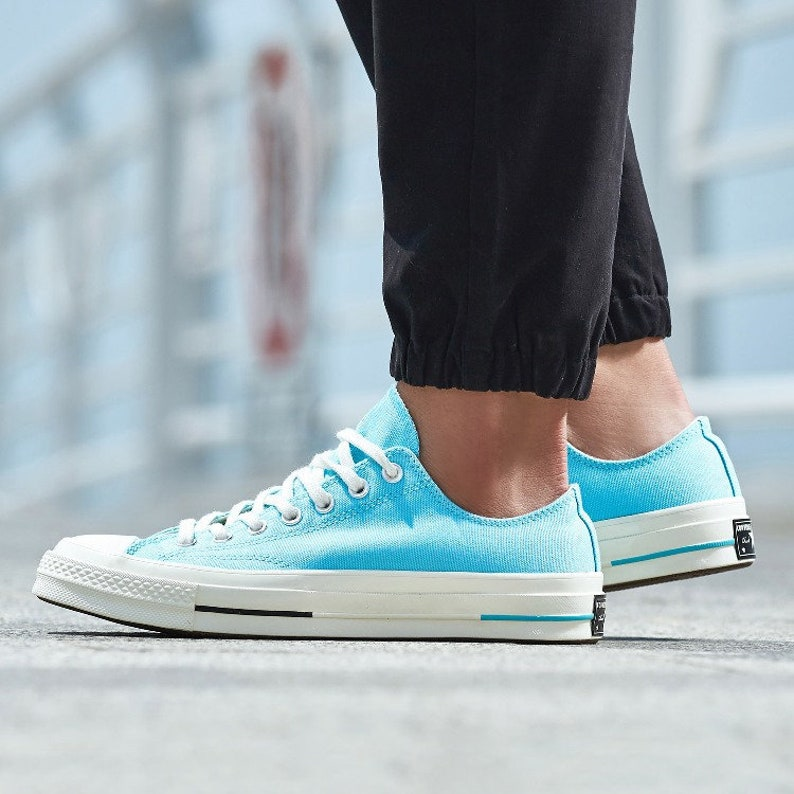 Baby Blue Converse 70s Spring Low Top Aqua Turquoise w/ Swarovski Crystal  Rhinestone Kicks Chuck Taylor All Star Bride Wedding Sneaker Shoe
