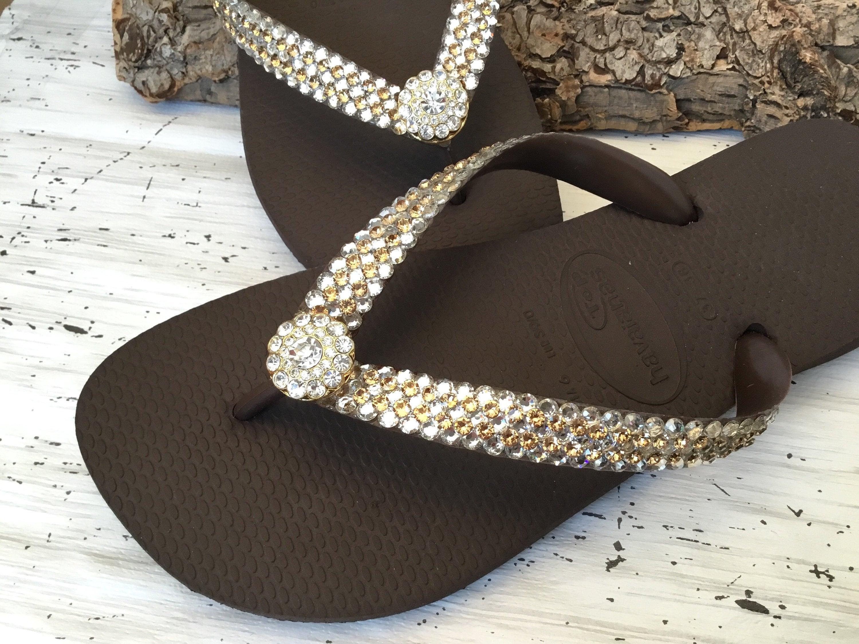 1448e2996f04 Gold Crystal flip flops Super Bling wedding Jewel Havaianas Flat or Wedge  1.5 Heel w  Swarovski Crystal 3D Ice Cap Beach Bride Bridal Shoes