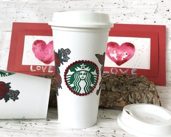 Starbucks Swag Valentines Love Heart Collector Cup w/ Swarovski Crystal reuse 16 Grande Travel Coffee Tea Tumbler mug drink Rhinestone Gift