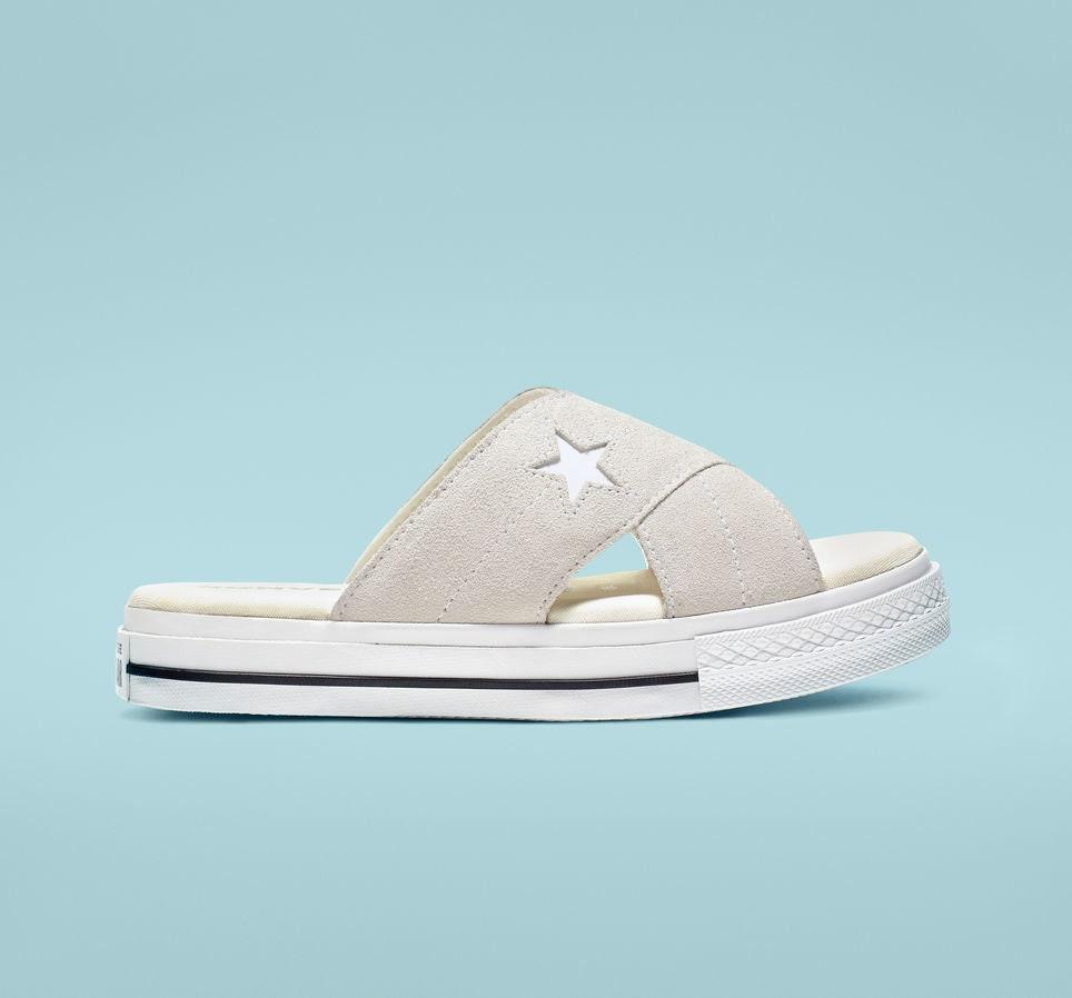 51c18444c3002 Cream Ivory Converse Off White One Star Slide slip on Beach Flip ...