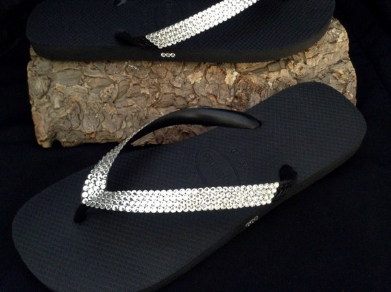 Clear Crystal Flip Flops Custom +80 gem shades w/ Swarovski Rhinestone Jewels Bling Havaianas flat Cariris wedge Beach Bride Wedding Shoes