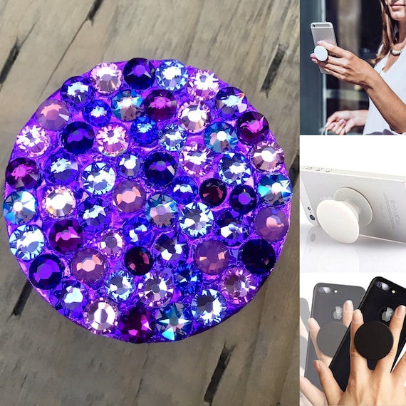 Violet Purple Crystal Phone Pop Grip Stand Dock 3M Lilac Lavender w/ Swarovski Rhinestone Bling Android Galaxy iPhone Case Gadget Tech Gift