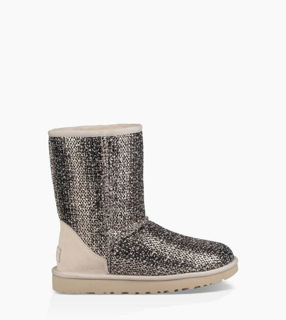 Rose Gold Metallic UGG Boots Cream Ivory Short Slip on Size 8 Ladies Teen gift w/ Swarovski Crystal Rhinestone Jewel Heel tag GlassSlipper