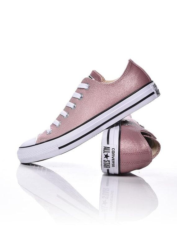 Pink Converse Glitter Sparkle low top Chuck Taylor Blush Ombre Custom w/ Swarovski Rhinestone Crystal All Star Bridal Wedding Sneakers Shoes