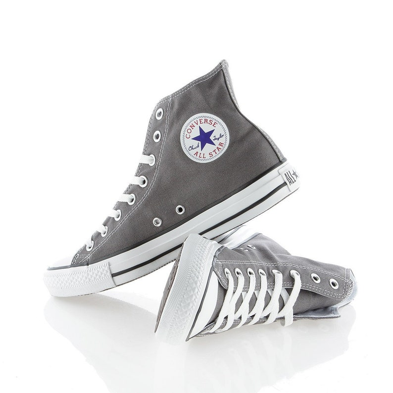 af563441b590 Gray Converse High Top Mens Ladies Gunmetal Charcoal Custom