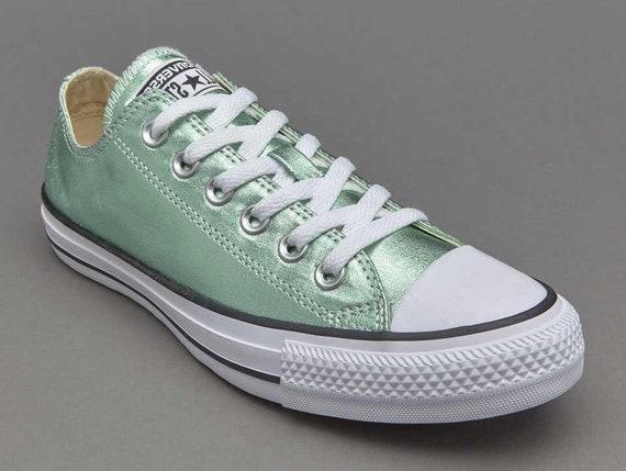 Mint Green Blue Ice Aqua Converse Low Top Metallic Canvas w/ Swarovski Crystal Custom Rhinestone Chuck Taylor All Star Wedding Sneaker Shoes