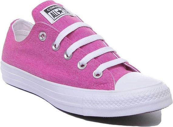 Fuchsia Converse Hot Pink Low Top Stonewash Silver Custom w/ Swarovski Crystal Rhinestone Bling Chuck Taylor All Star Wedding Sneakers Shoes