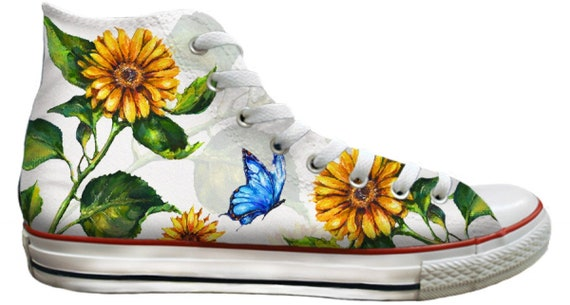 Sunflower High Top White Yellow Butterfly Floral Bridal Wedding Custom Print Lori Diamond Art w/ Swarovski Crystal Rhinestone Sneakers Shoes