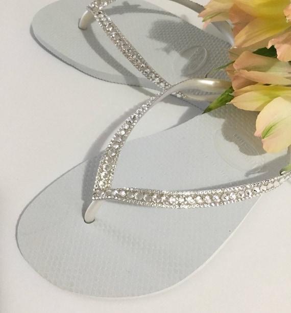 a204ed73cbc5 White Havaianas Slim Crystal Wedding flip flops Silver ocean