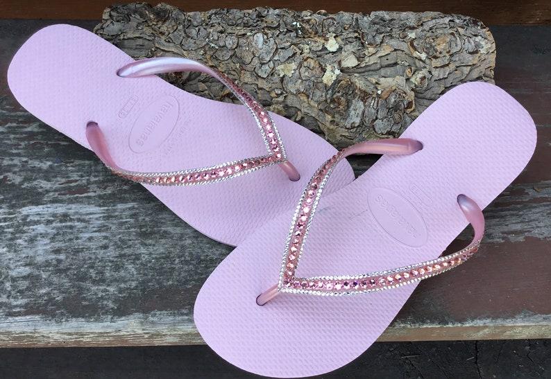 e42e450b41ad7 Pink Flip Flops Blush Crush Slim Havaianas Custom Bling