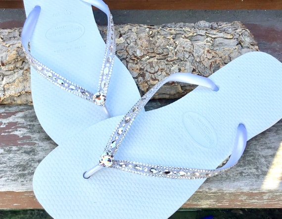 Havaianas Slim White Crystal Rhinestone Beach Wedding Flip Flops Blushing Bride Custom w/ Swarovski jewels Beach Bridal Bling Reception Shoe