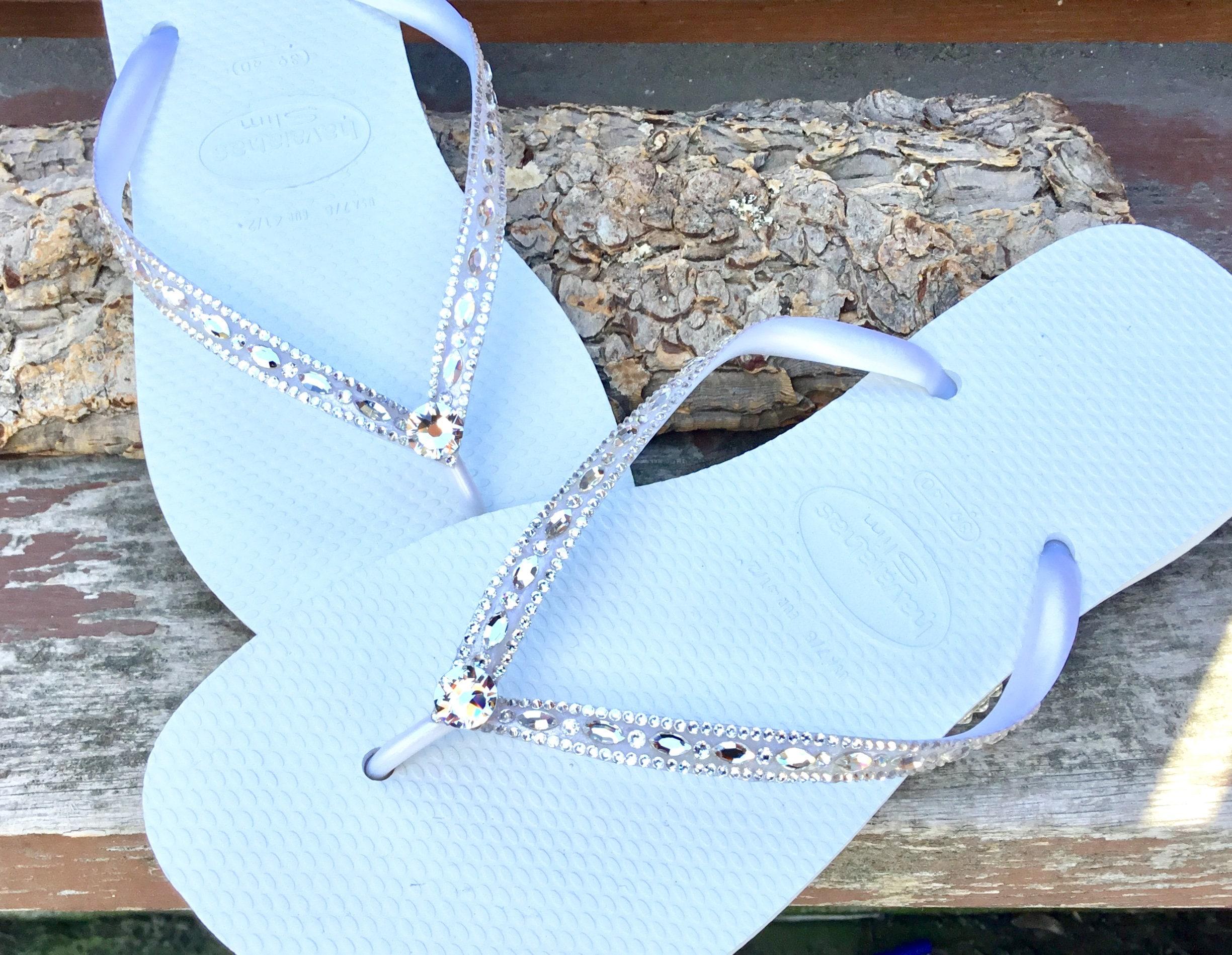 393bd123061b4 Havaianas Slim White Crystal Rhinestone Beach Wedding Flip Flops Blushing  Bride Custom w  Swarovski jewels Beach Bridal Bling Reception Shoe