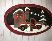 Red pickup truck decor pickup truck christmas penny rug farmhouse christmas decor country decor red truck penny rug pickup truck decor