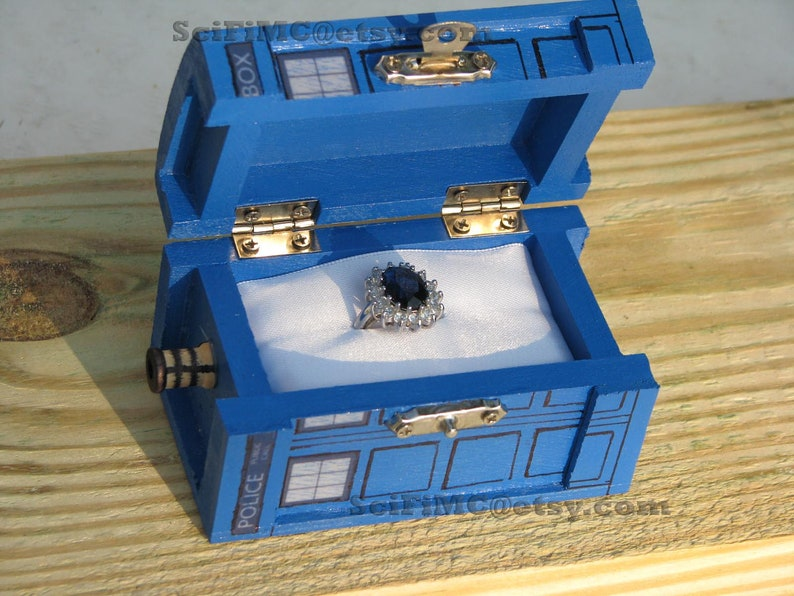 TARDIS Inspired Small Painted Blue Box image 0