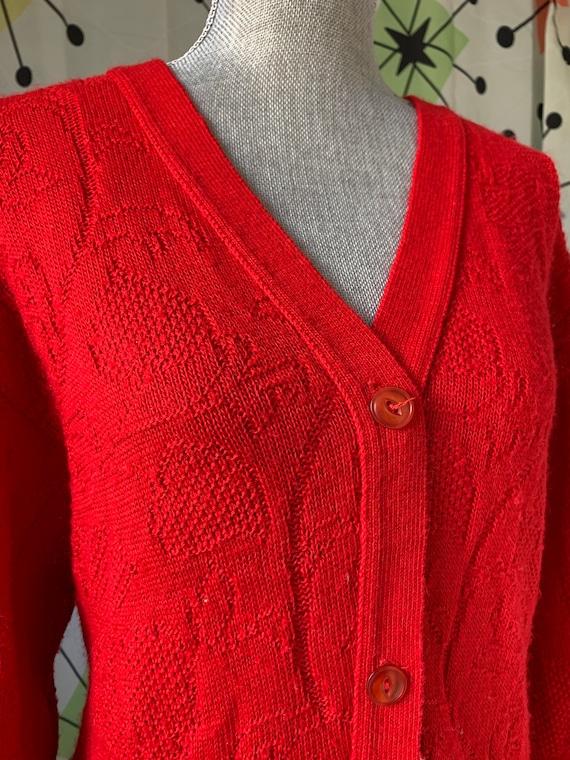 1960s Cherry Red Vintage Cardigan - image 6